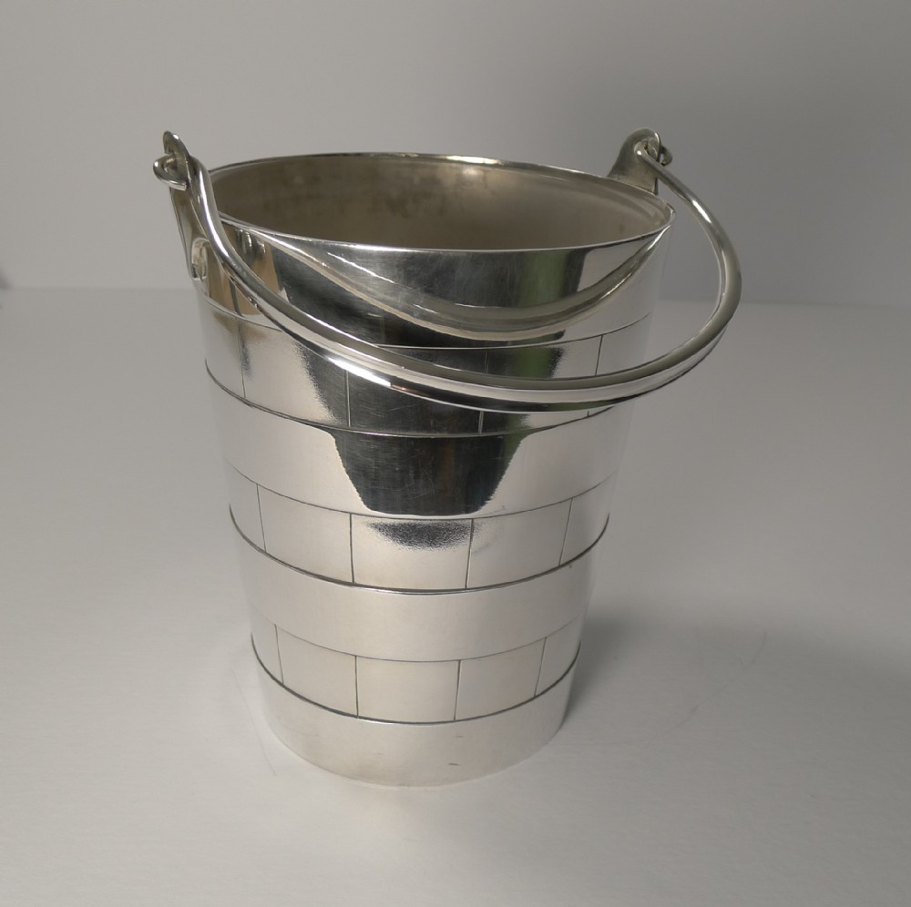 superb antique english ice bucket pail by atkin brothers c1910
