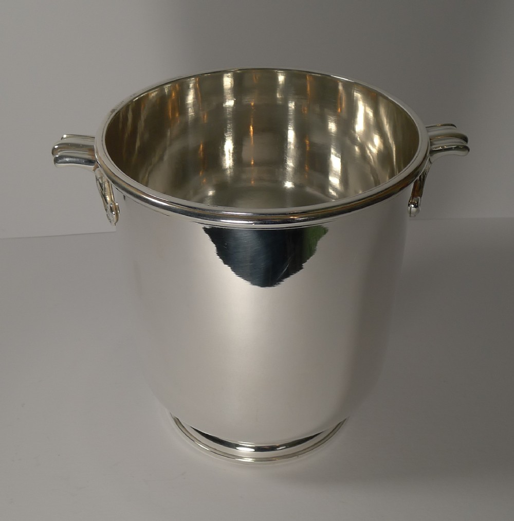 exceptional french art deco silver plated champagne bucket wine cooler