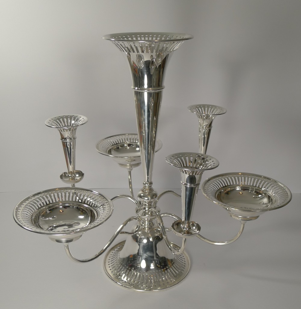 large antique english silver plated centrepiece c1910