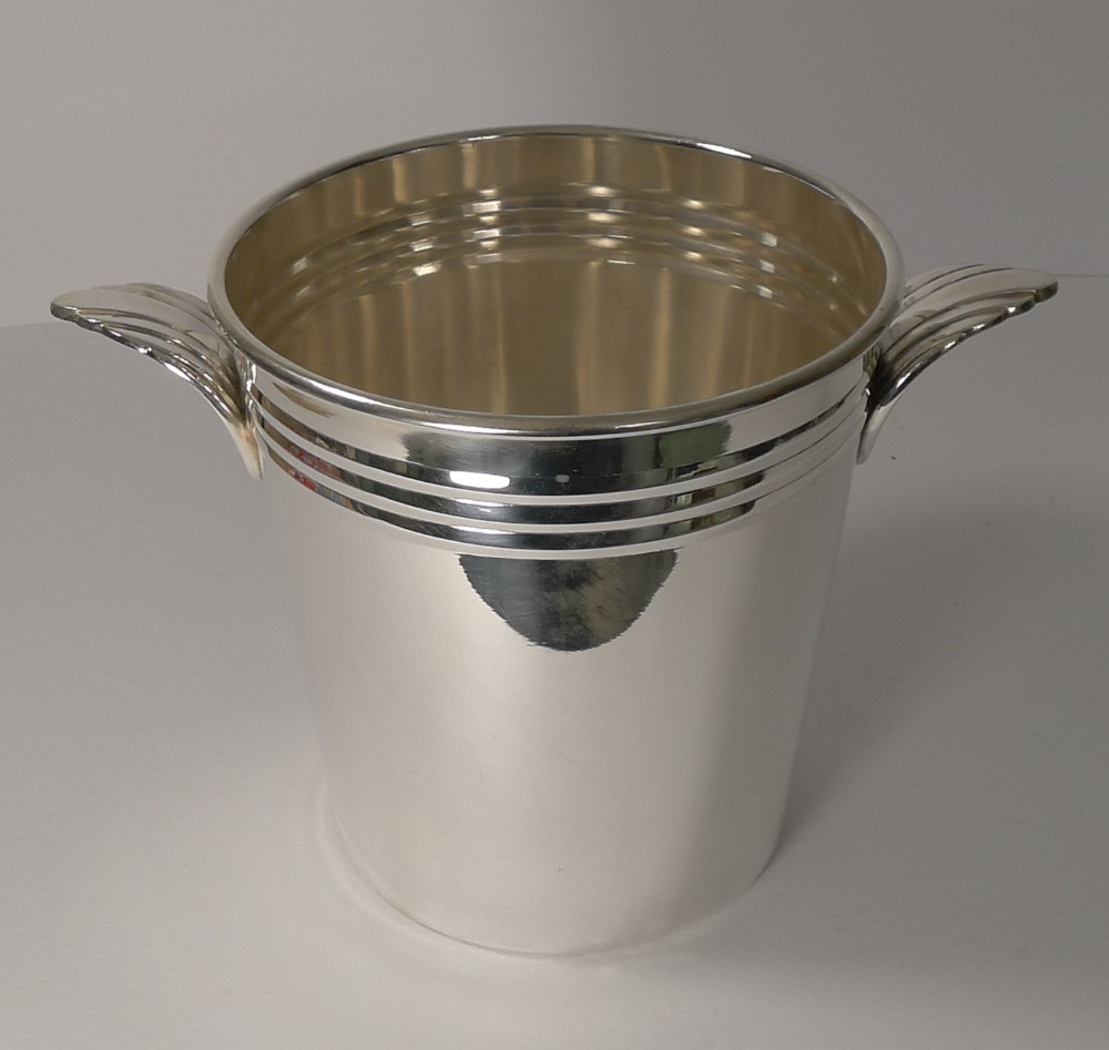 french art deco wine cooler champagne bucket c1930's in silver plate