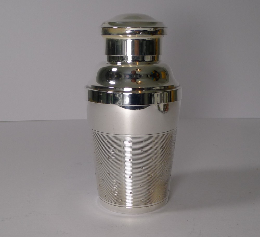 rare individual french silver plated cocktail shaker with lemon squeezer
