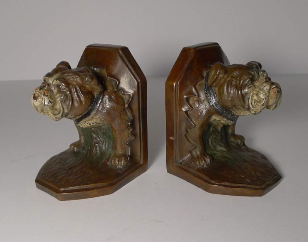 pair antique cold painted bronze bookends bulldog
