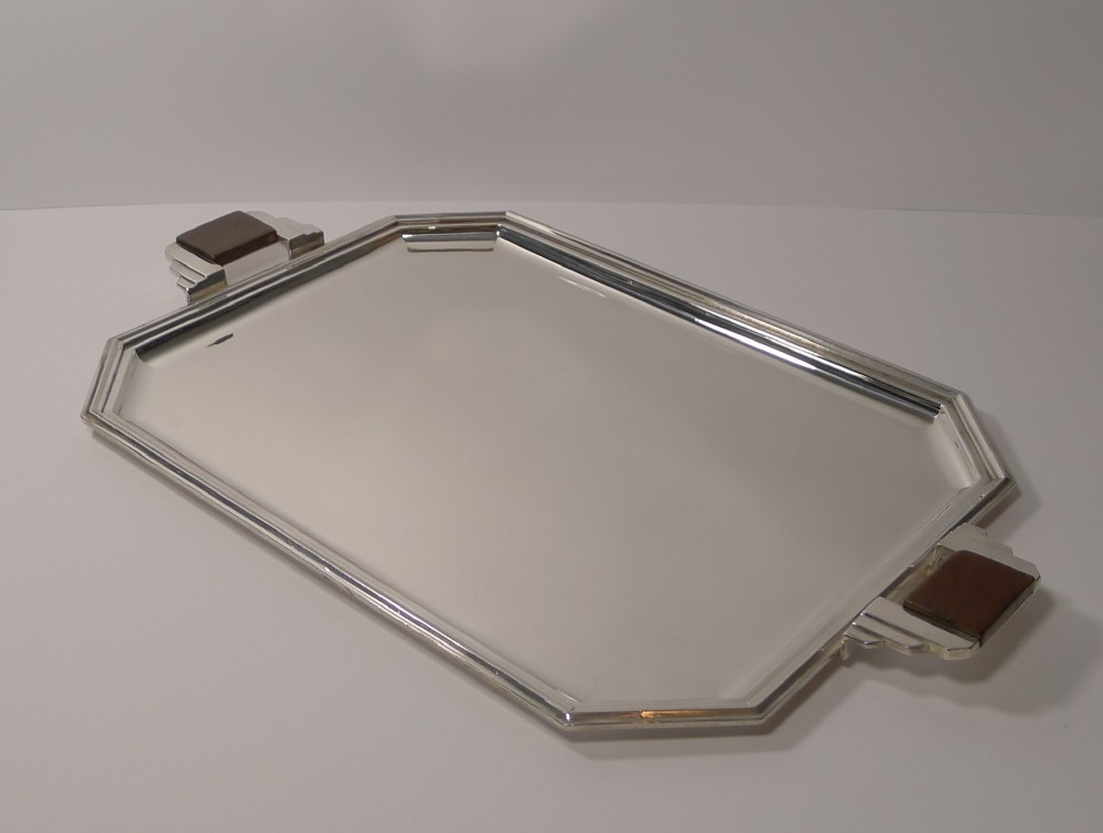 stylish french art deco cocktail tray in silver plate c1930's