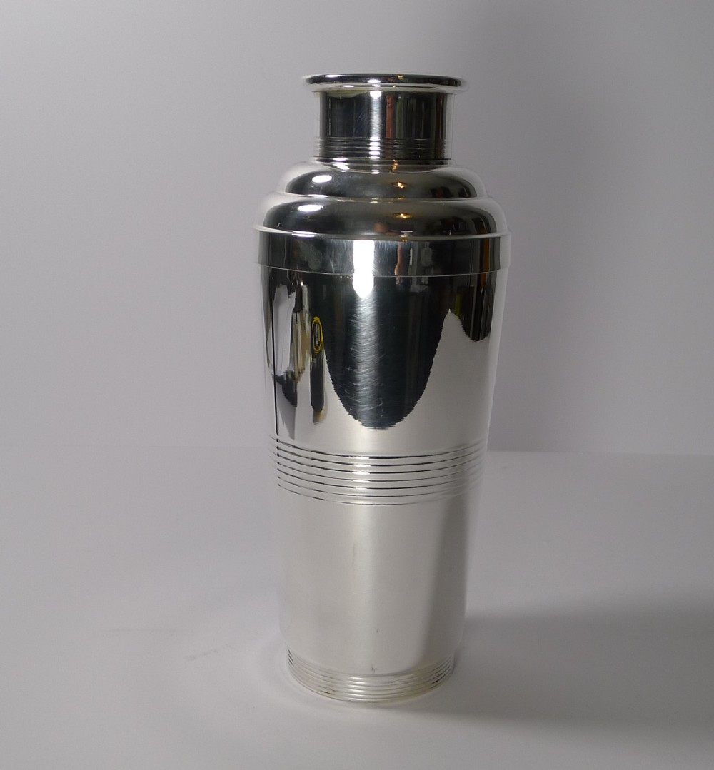 french art deco silver plated cocktail shaker c1930
