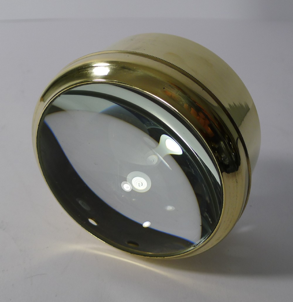 large english antique brass desk magnifying glass paperweight c1910