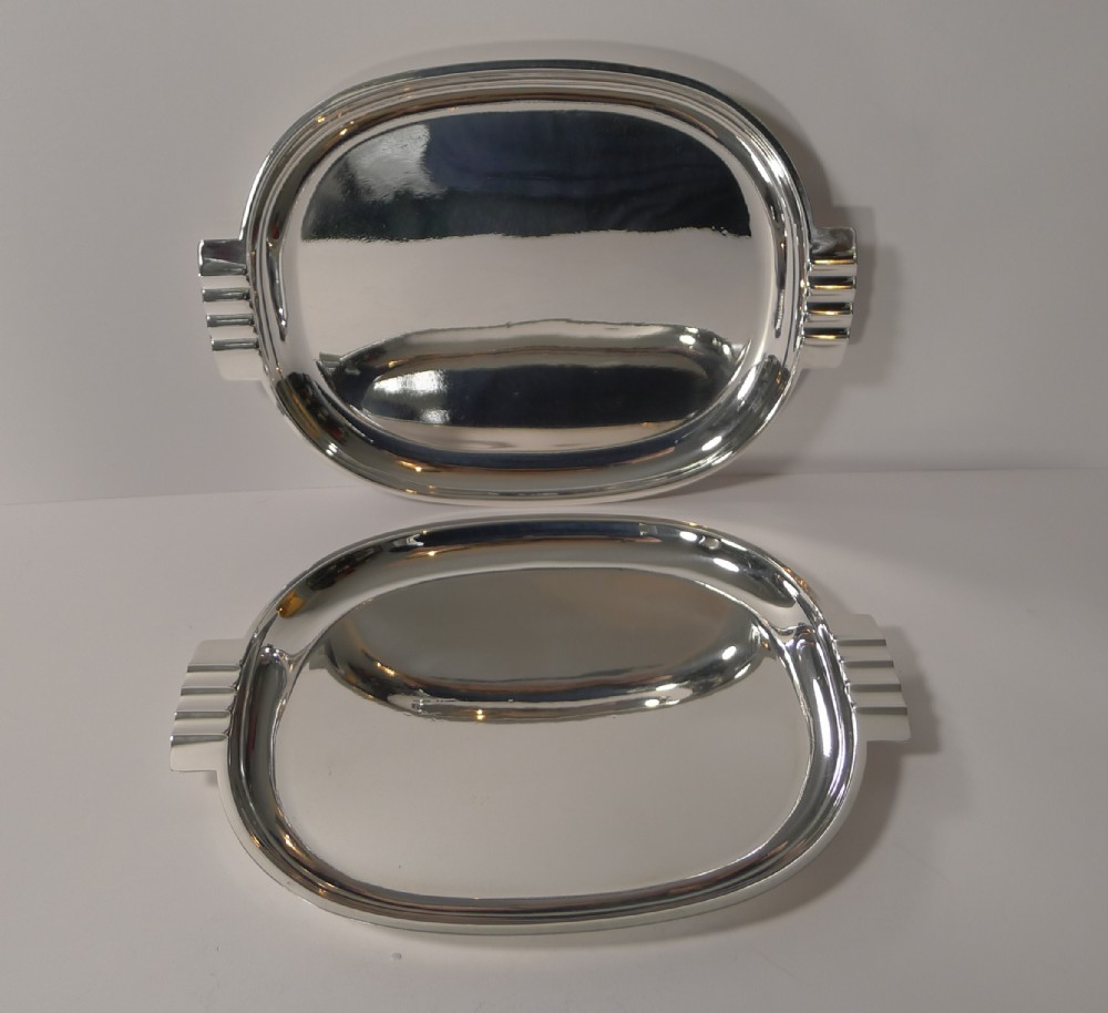 pair english art deco silver plated serving cocktail trays c1940
