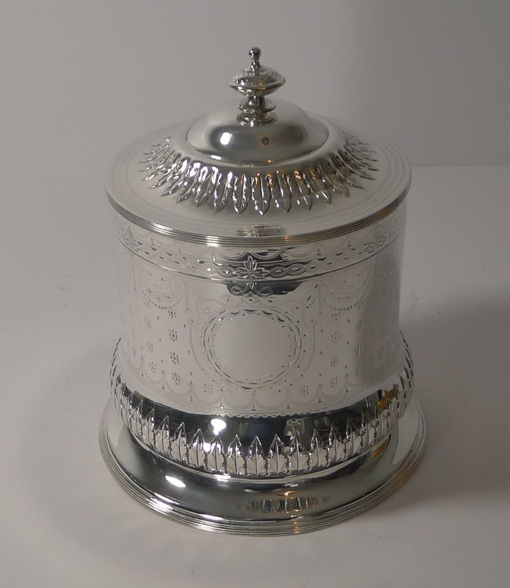 antique english silver plated biscuit box by george sissons c1870